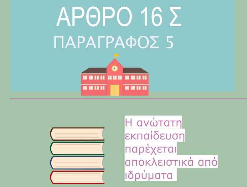 Τι προβλέπει η παράγραφος 5 του πολυσυζητημένου άρθρου 16 του Συντάγματος; Η απάντηση στο Infographic της Αλκμήνης Φωτιάδου.